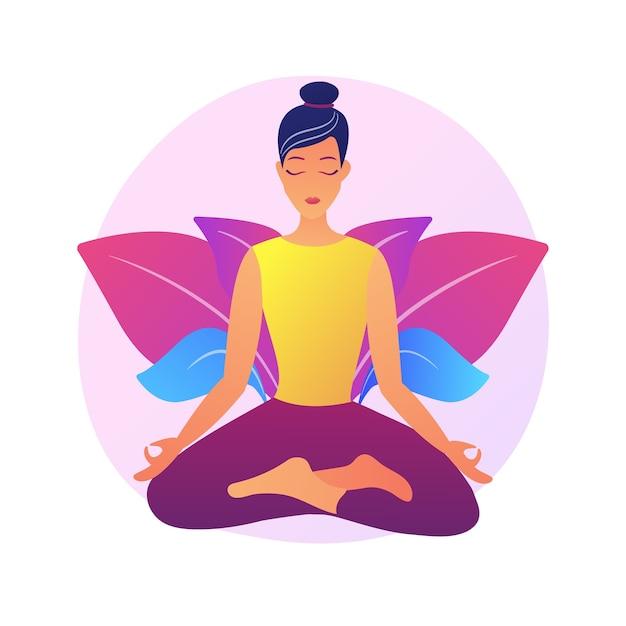 요가 학교 강사. 명상 연습, 이완 기술, 신체 스트레칭 운동. 로터스 포즈의 여성 요기. 영적 균형 전문가. 무료 벡터