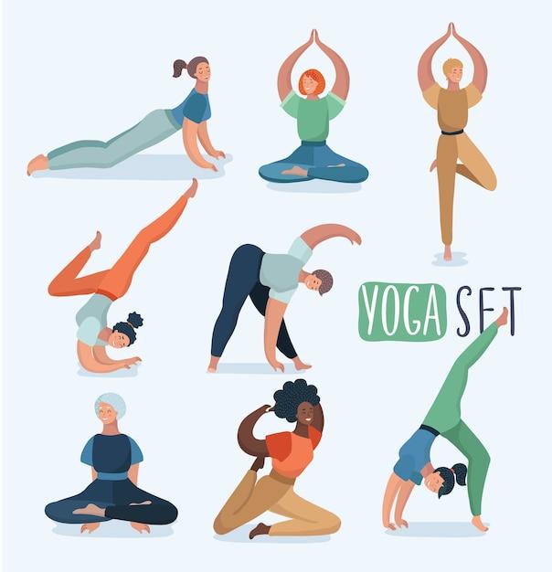 Йога с женщинами в разных позах. иллюстрация в современной концепции упражнений йоги. другой женский персонаж. Premium векторы
