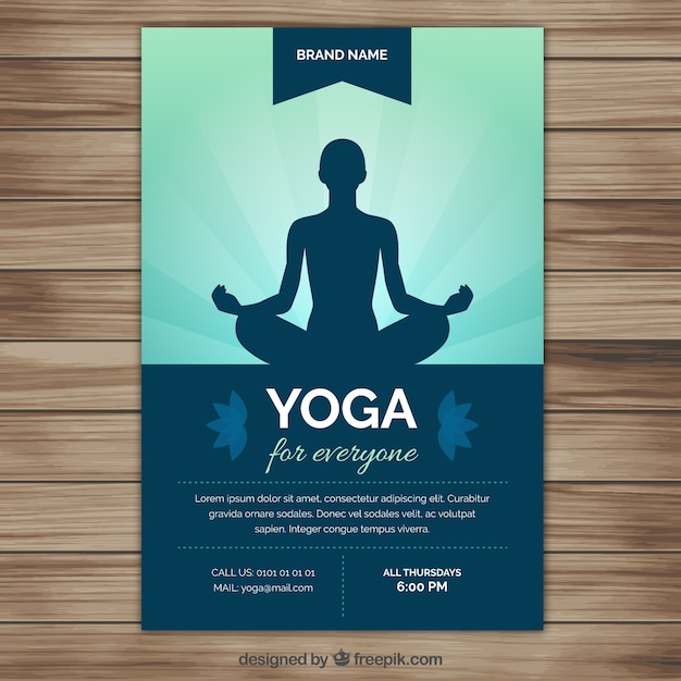 Yoga Silhouette Flyer Vector  Free Download