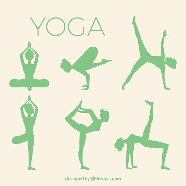 Yoga Silhouettes pack Free Vector