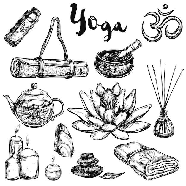 Yoga sketch icon set Free Vector