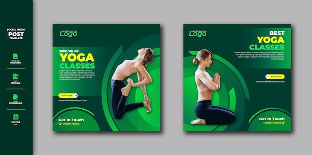 Yoga social media post instagram banner Premium Vector