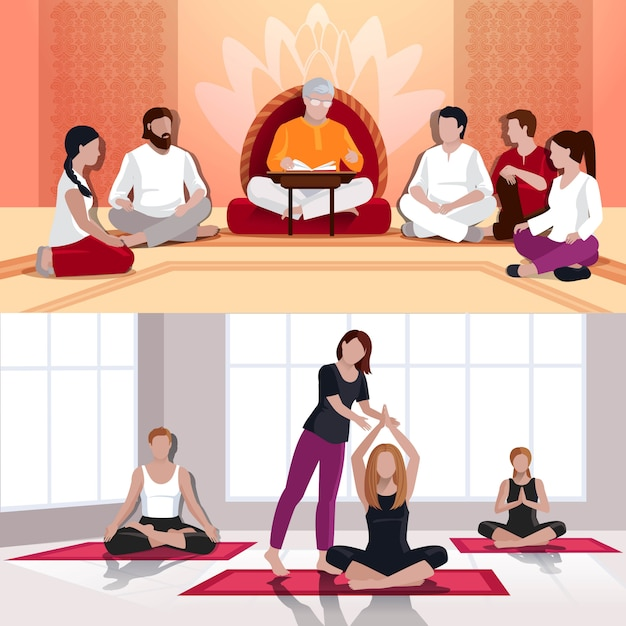 Yoga and spiritual lesson flat compositions Free Vector