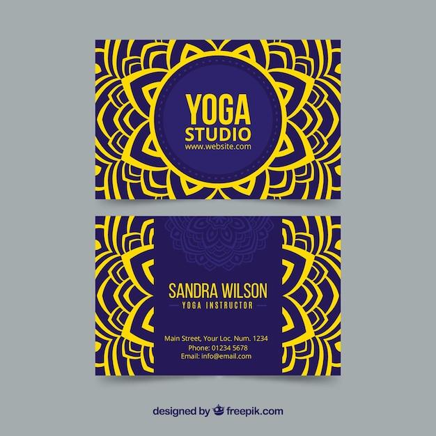Yoga studio card with mandala Free Vector
