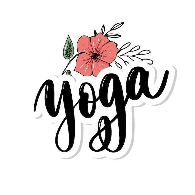 Yoga studio   . elegant hand lettering Premium Vector