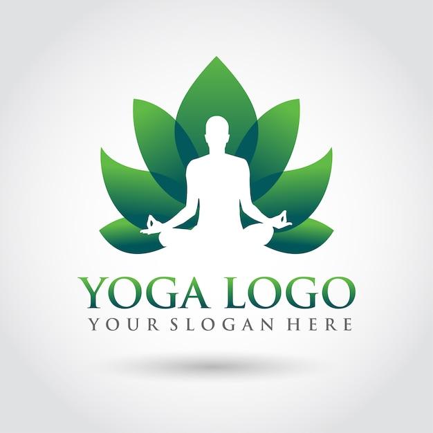 Yoga template logo design. minimalist zen logo style Premium Vector
