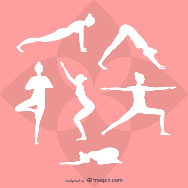 Yoga white silhouettes Free Vector