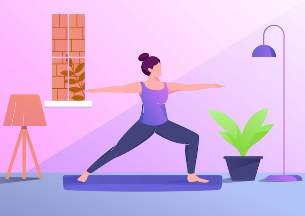 Yoga woman illustration sport in room Premium Vector