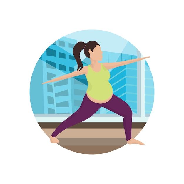 Yoga workout in gym cartoon Premium Vector