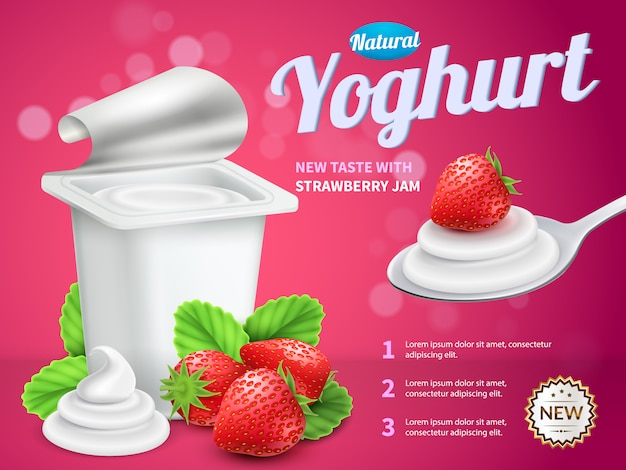 Рекламный пакет упаковки йогурта с клубничным йогуртом Бесплатные векторы
