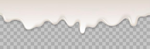 Yogurt creamy liquid or yoghurt cream melt splash flowing background. white milk splash or ice cream flow soft texture on transparent background for sweet dessert Premium Vector