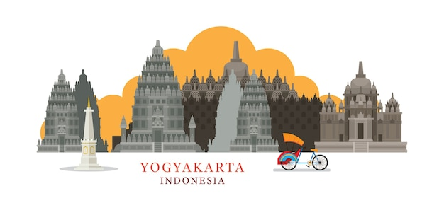 Yogyakarta indonesia skyline landmarks Premium Vector