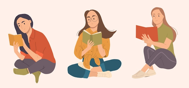 Yong happy woman reading book sitting. Premium Vector