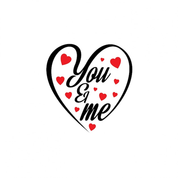 You and me with hearts Vector ...