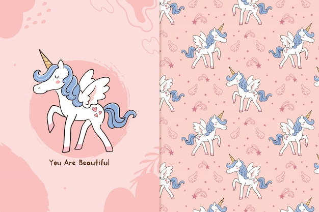 You are beautiful unicorn Premium Vector