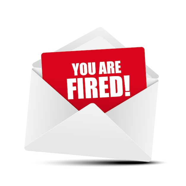 You are fired card in envelope Premium Vector