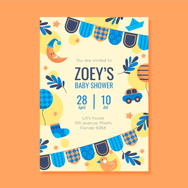 You are invited to baby shower for boy Free Vector