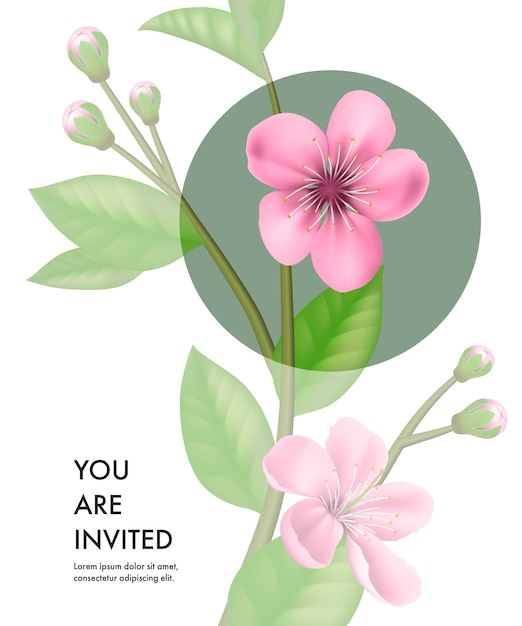 you are invited card template with transparent cherry flowers and