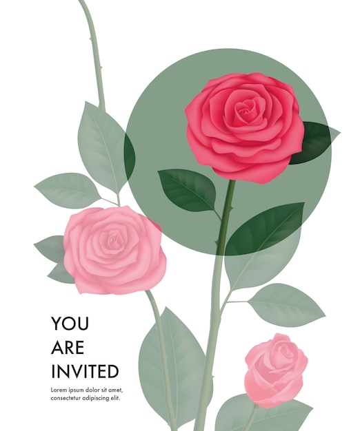 you are invited card template with transparent roses and green