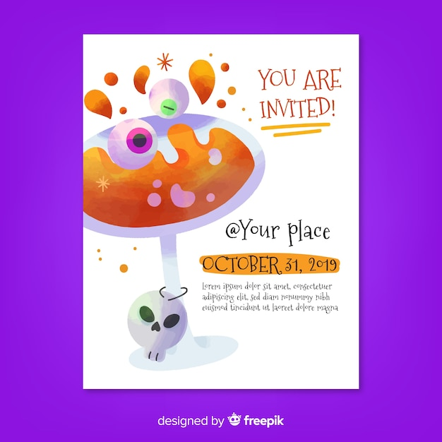 You are invited at cocktail halloween party flyer Free Vector