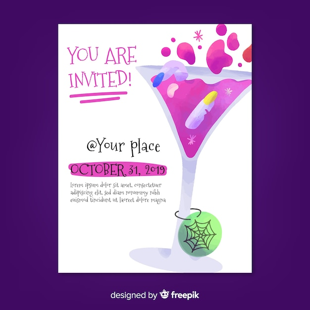 You are invited at cocktail halloween party poster Free Vector