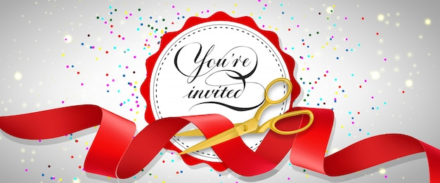 You are invited festive banner with confetti, text on white circle and gold scissors Free Vector