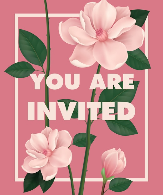 You are invited lettering with cherry flowers\ on pink background.
