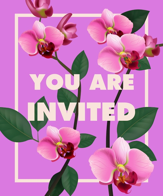 You are invited lettering with pink orchid on purple background. Free Vector
