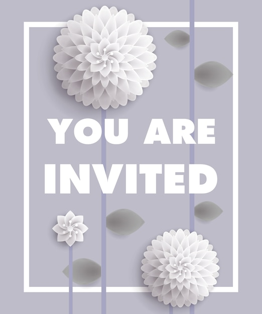 You are invited lettering with white dandelions in frame on gray ...
