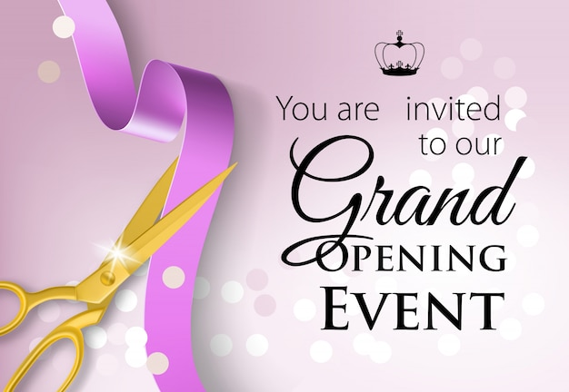 You are invited to our grand opening event lettering with crown Free Vector