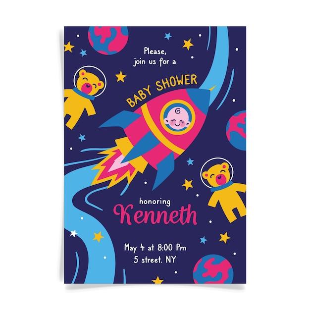 Вы приглашены на детский душ для мальчика и космический корабль Бесплатные векторы
