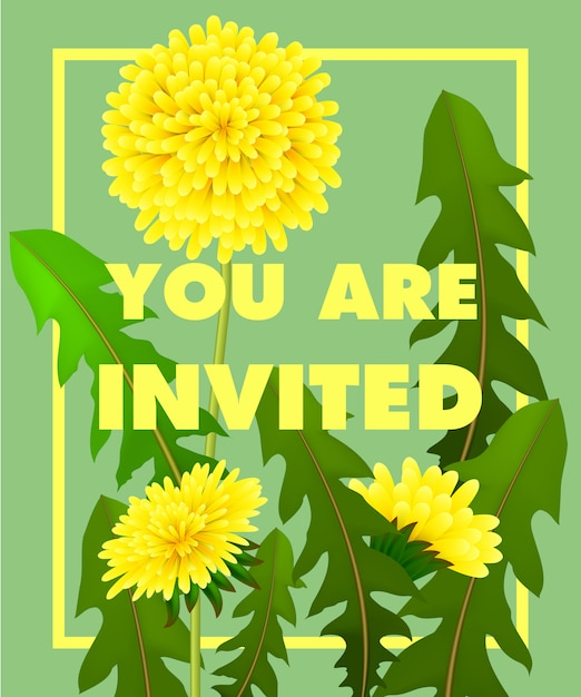 You are lettering with yellow dandelions in frame on green background. Free Vector