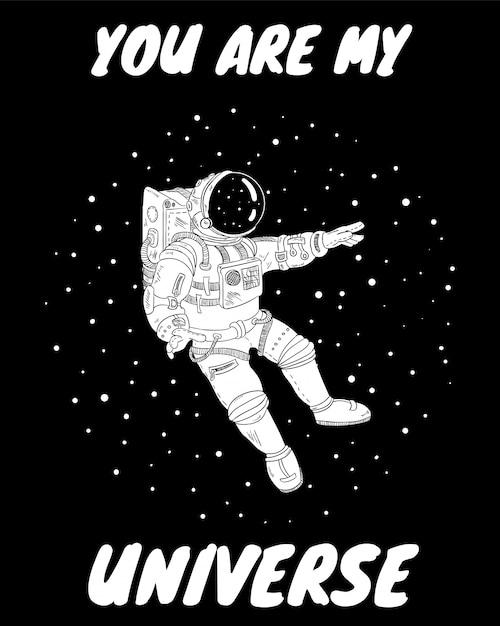 You are my universe postcard Premium Vector