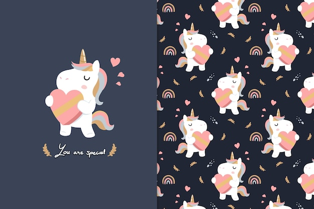 You are special  unicorn seamless pattern Premium Vector