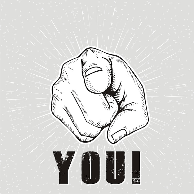 You.  hand sign Premium Vector