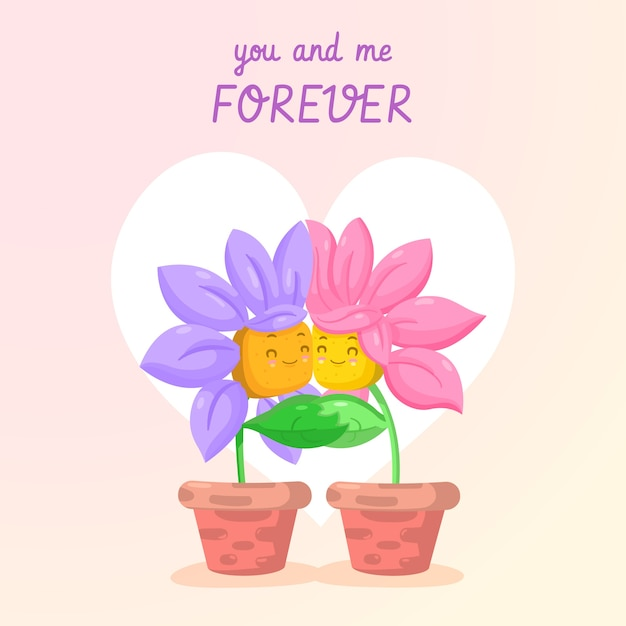 You and me forever flower couple valentine background Free Vector