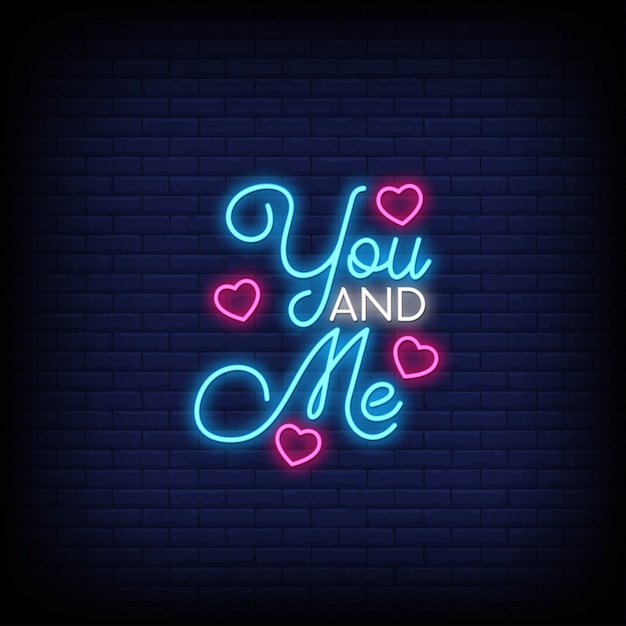 You and me for poster in neon style. Premium Vector