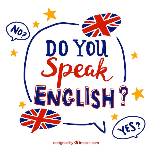 Do you speak english lettering background Free Vector