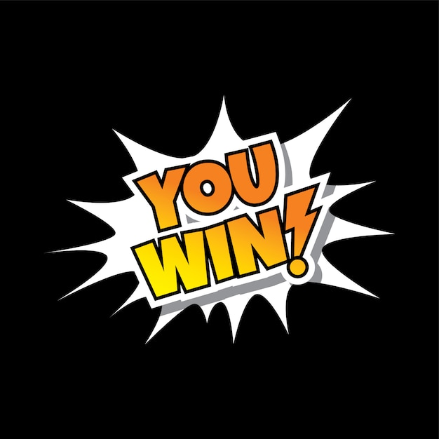 You win comic speech bubble cartoon game assets Premium Vector