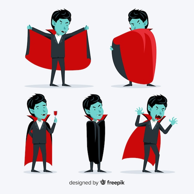 Young adult dracula vampire collection Free Vector
