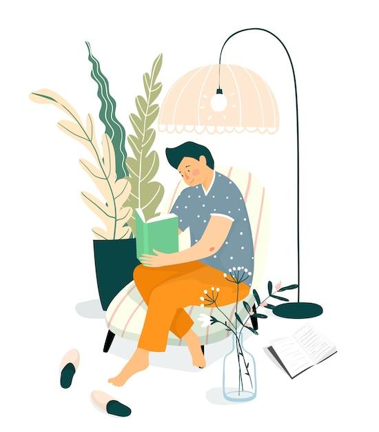 ソファで本を読んでいる若い成人男性またはティーンエイジャー。家のインテリアデザイン、本のコンセプトを読んで家で勉強してリラックス。 Premiumベクター