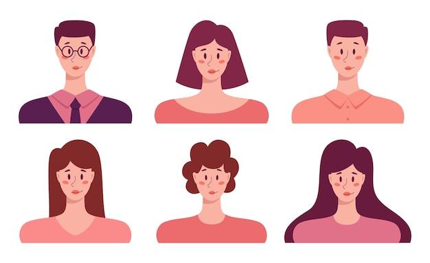 若者のアバターセット、ビジネスの男性と女性の肖像画のアイコン。人間キャラクターコレクション。 Premiumベクター