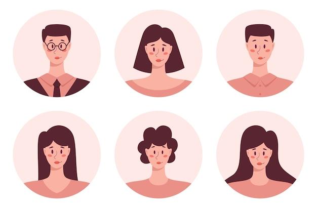 若い成人の人々は、アバターet、ビジネスの男性と女性の肖像画のアイコンをラウンドします。人間キャラクターコレクション。 Premiumベクター