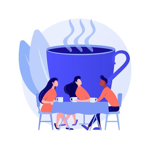 Молодые люди, коллеги на перерыве с работы. встреча друзей, общение коллег, дружеская беседа. люди пьют кофе и разговаривают. векторная иллюстрация изолированных концепции метафоры Бесплатные векторы
