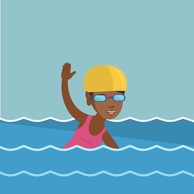 Young african-american sportswoman swimming. Premium Vector