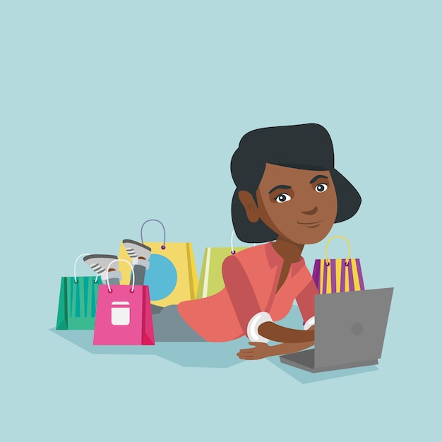Young african-american woman doing online shopping Premium Vector