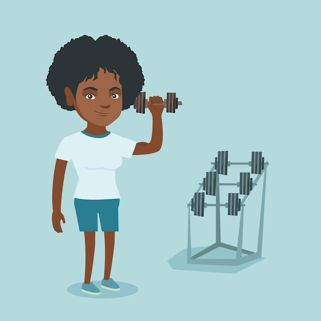 Young african-american woman lifting dumbbell. Premium Vector