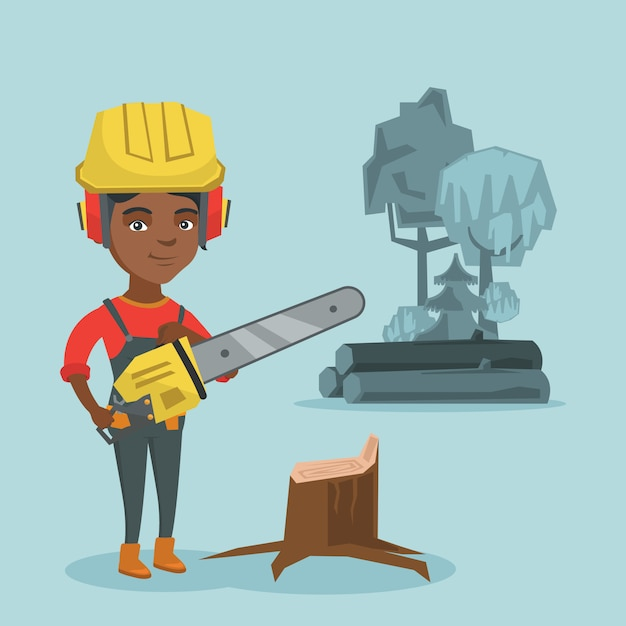 Young african lumberjack holding a chainsaw. Premium Vector