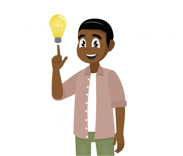 Young african man shows gesture. solution of the problem.  a great idea. Premium Vector