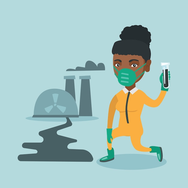 Young african scientist holding a test tube. Premium Vector
